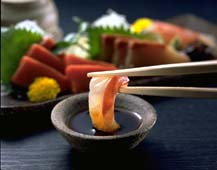 Sashimi Dipped in Soy Sauce
